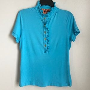 Tory Burch Blue Lidia Ruffle Trim Polo